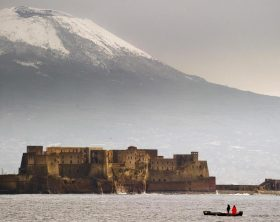 NAPLES: SNOW ON VESUVIO VOLCANO