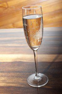 Elegant flute of sparkling wine