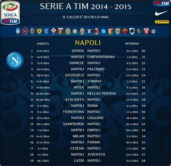 Calendario Partite Seria A.Serie A 2014 15 Il Calendario Di Tutte Le Partite