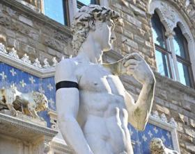 Michelangelo's David in mourning in Signoria Square in Florence
