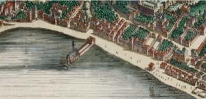 Lo scoglio di San Leonardo nella mappa Stopendaal del 1663.