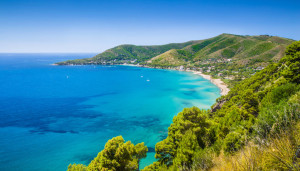 Panoramic view of beautiful coastal landscape at the Cilentan Co