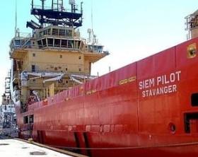 """""""Siem Pilot"""" la nave norvegese che trasportava gli 810 migranti sbarcati a Salerno."""