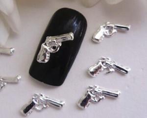 50pcs-007-bang-bang-shot-gun-3d-nail-art-silver-sparkly-guns-pistols-alloy-metal-nail