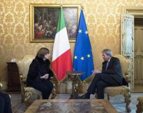 Pres. Gentiloni incontra Franca Di Blasio, la professoressa