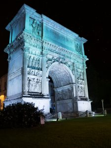 The Arch of Trajan in the night in Benevento (Italy)