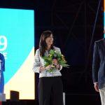 La moglie di Pietro Mennea Manuela Olivieri Mennea  durante la cerimonia di chiusura delle Universiadi 2019 a Napoli,14 Luglio 2019. - Photo Pool Fotografi Universiade 2019