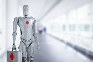 3d rendering medical robot with red cross sign holding medical case
