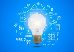 business graph with illuminated light bulb concept for idea, innovation and inspiration for business
