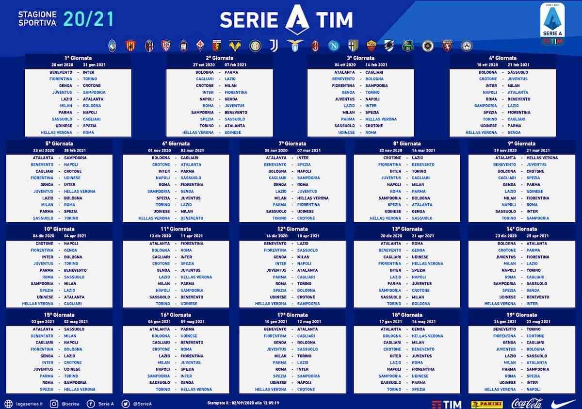 Calendario Serie A 2020/2021: il campionato al via il19 settembre