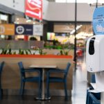 Disinfection for hands in a shopping mall during the coronavirus epidemic