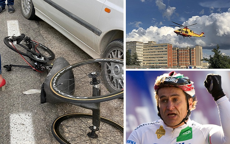 Alex Zanardi's handbike after the road accident occurred in the province of Siena, during one of the stages of the relay of Obiettivo tricolore, a journey that sees the participants among Paralympic athletes in handbikes, bikes or Olympic wheelchairs, 19 June 2020. ANSA