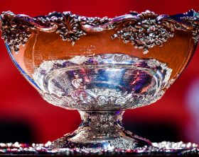 The Davis Cup trophy is displayed during the draw on the eve of the Davis Cup tennis final between France and Croatia at the Pierre Mauroy Stadium in Villeneuve-d'Ascq, northern France, on November 22, 2018. (Photo by DENIS CHARLET / AFP)        (Photo credit should read DENIS CHARLET/AFP via Getty Images)